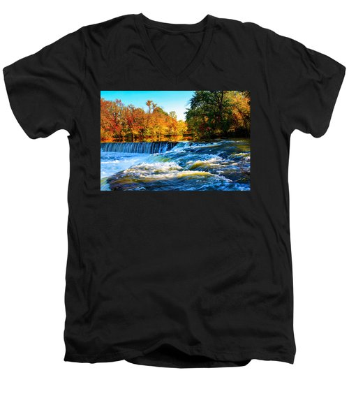 Men's V-Neck T-Shirt featuring the photograph Amazing Autumn Flowing Waterfalls On The River  by Jerry Cowart