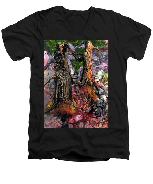 Men's V-Neck T-Shirt featuring the painting Autumn Woods by Sherry Shipley