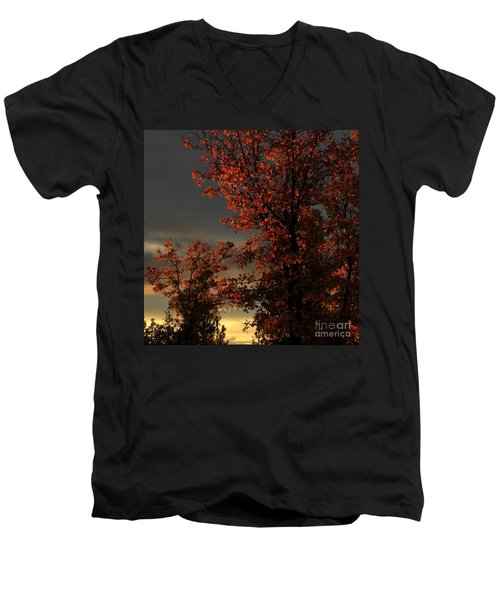 Autumn's First Light Men's V-Neck T-Shirt by James Eddy