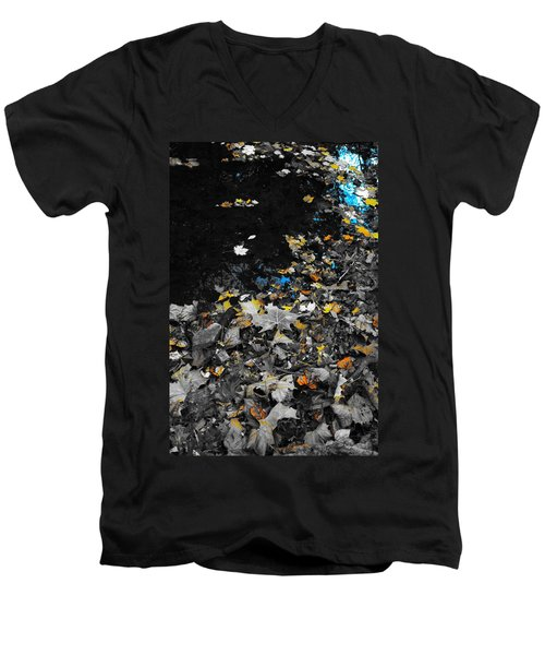 Men's V-Neck T-Shirt featuring the photograph Autumn's Last Color by Photographic Arts And Design Studio