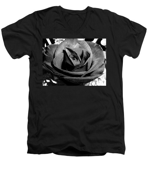 Awakened Black Rose Men's V-Neck T-Shirt by Nina Ficur Feenan
