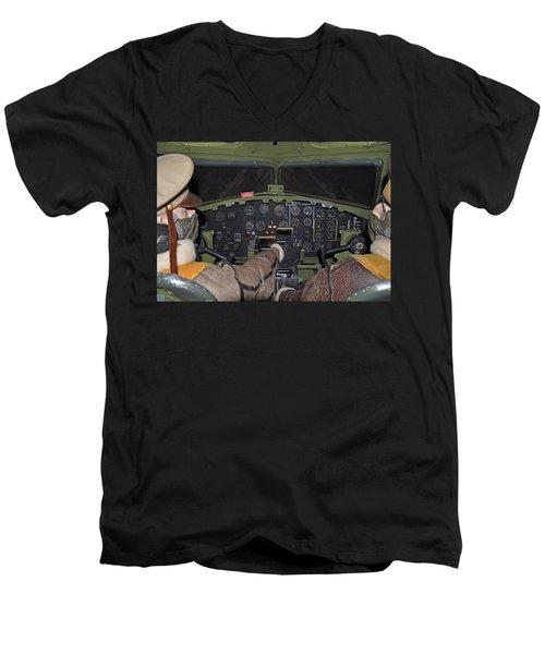 B-17 Bomber Cockpit Men's V-Neck T-Shirt