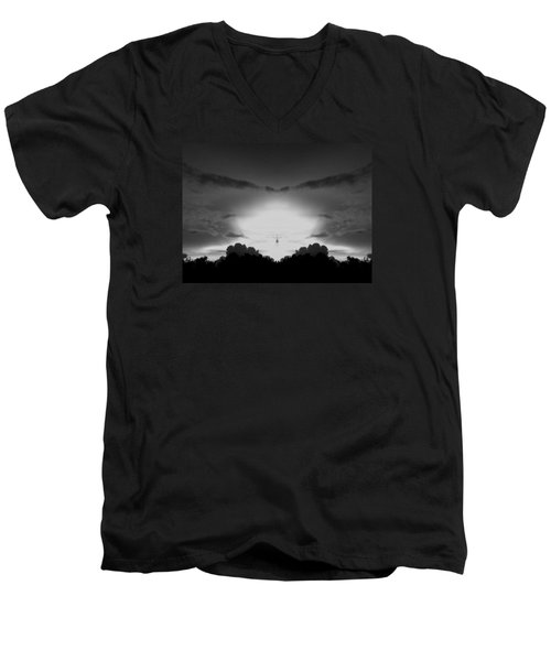 Helicopter And Stormy Sky Men's V-Neck T-Shirt by Belinda Lee