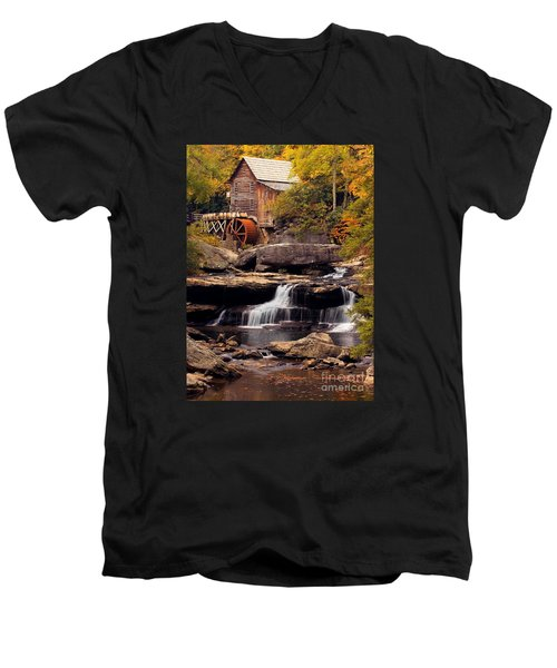 Babcock Grist Mill And Falls Men's V-Neck T-Shirt by Jerry Fornarotto