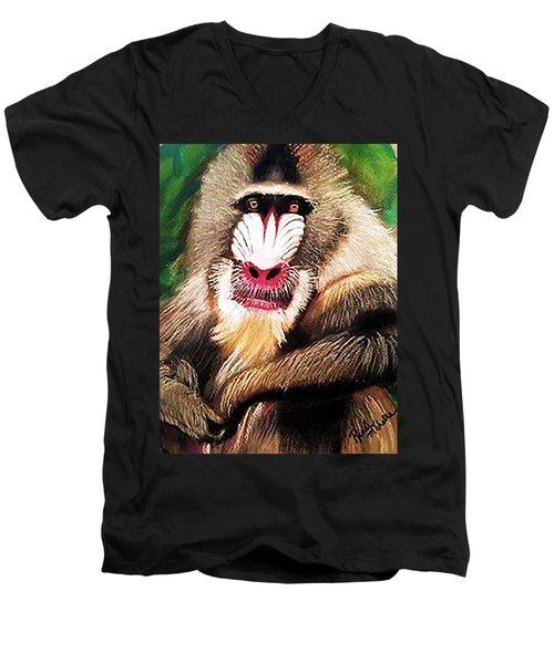 Baboon Stare Men's V-Neck T-Shirt
