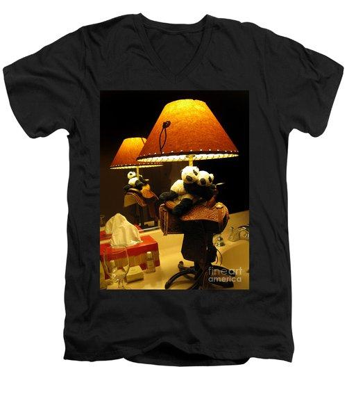 Men's V-Neck T-Shirt featuring the photograph Baby Pandas In A Saddle  by Ausra Huntington nee Paulauskaite