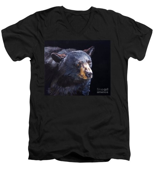 Back In Black Bear Men's V-Neck T-Shirt by J W Baker