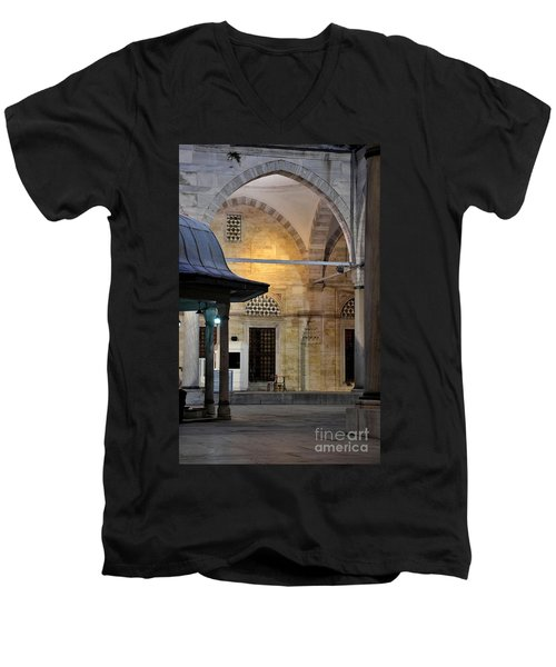 Men's V-Neck T-Shirt featuring the photograph Back Lit Interior Of Mosque  by Imran Ahmed
