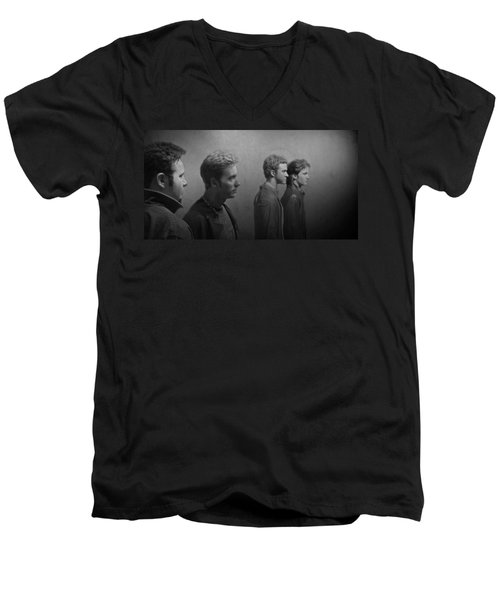 Back Stage With Nsync Bw Men's V-Neck T-Shirt