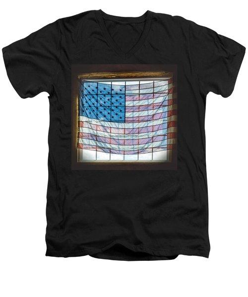Backlit American Flag Men's V-Neck T-Shirt by Photographic Arts And Design Studio