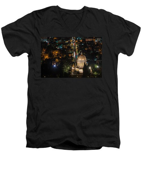Baha'i Temple At Night Men's V-Neck T-Shirt