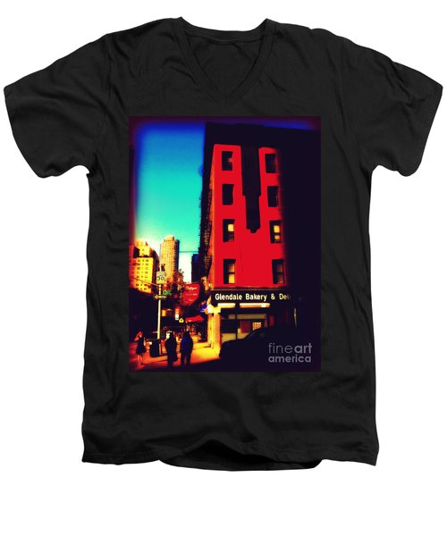 Men's V-Neck T-Shirt featuring the photograph The Bakery - New York City Street Scene by Miriam Danar