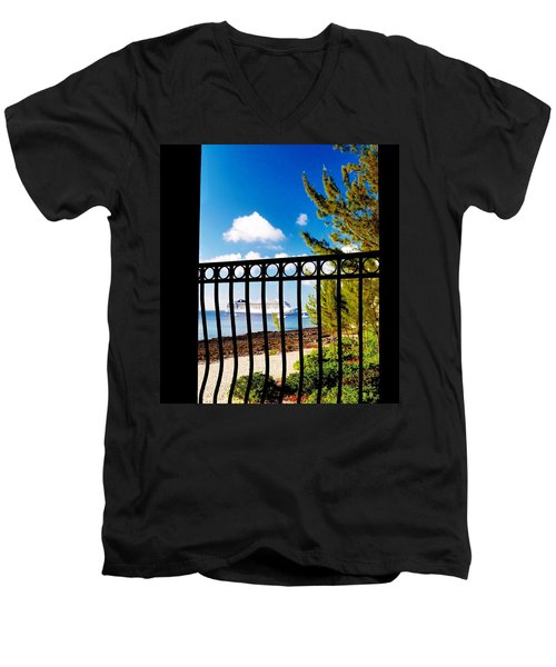Men's V-Neck T-Shirt featuring the photograph Balcony Scene by Amar Sheow