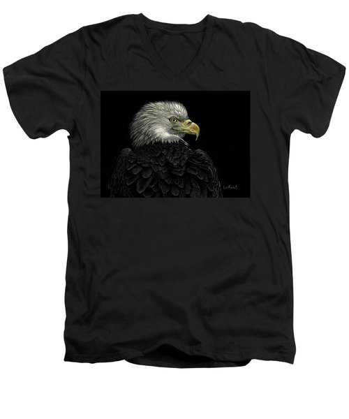 Men's V-Neck T-Shirt featuring the drawing American Bald Eagle by Sandra LaFaut