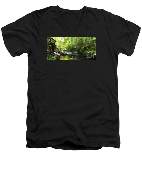Men's V-Neck T-Shirt featuring the photograph Bald River by Paul Mashburn