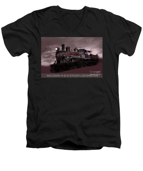 Baldwin 4-6-0 Steam Locomotive Men's V-Neck T-Shirt