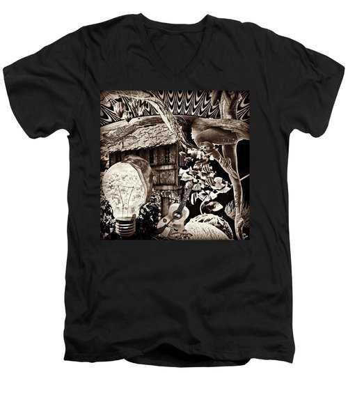 Men's V-Neck T-Shirt featuring the mixed media Ballerina Dreams by Ally  White
