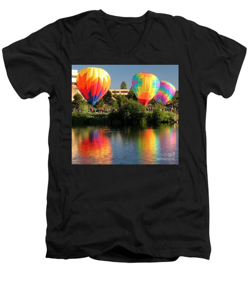 Balloons Over Bend Oregon Men's V-Neck T-Shirt by Kevin Desrosiers