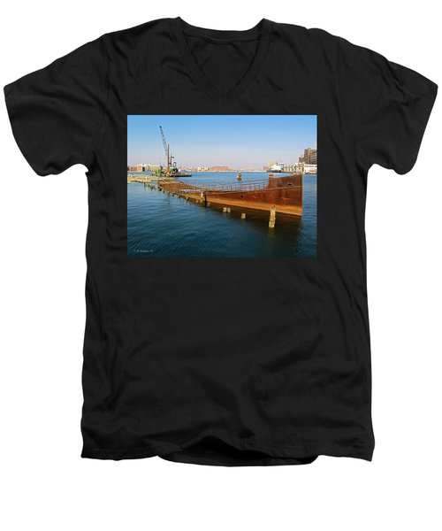 Men's V-Neck T-Shirt featuring the photograph Baltimore Museum Of Industry by Brian Wallace
