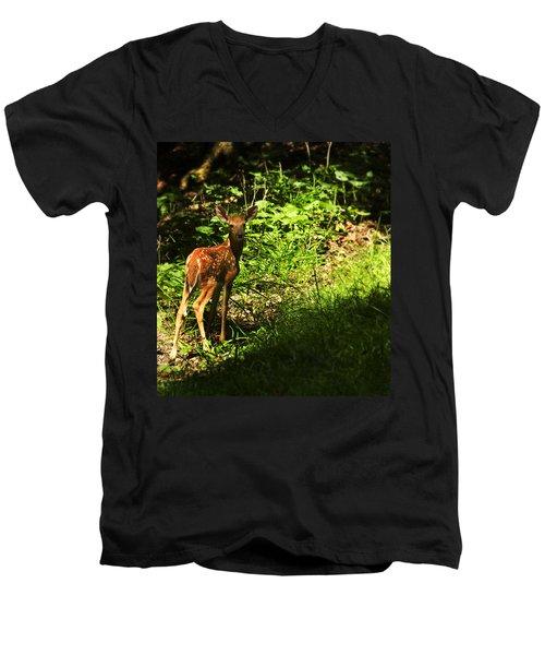 Bambi Men's V-Neck T-Shirt by Melissa Petrey