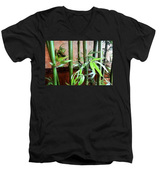 Men's V-Neck T-Shirt featuring the photograph Plant -  Bamboo  -  Luther Fine Art by Luther Fine Art