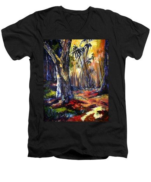 Bamboo Garden With Bunny Men's V-Neck T-Shirt
