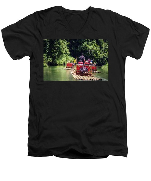 Men's V-Neck T-Shirt featuring the photograph Bamboo River Rafting by Melanie Lankford Photography