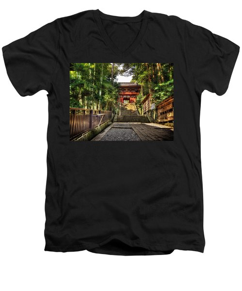 Bamboo Temple Men's V-Neck T-Shirt by John Swartz