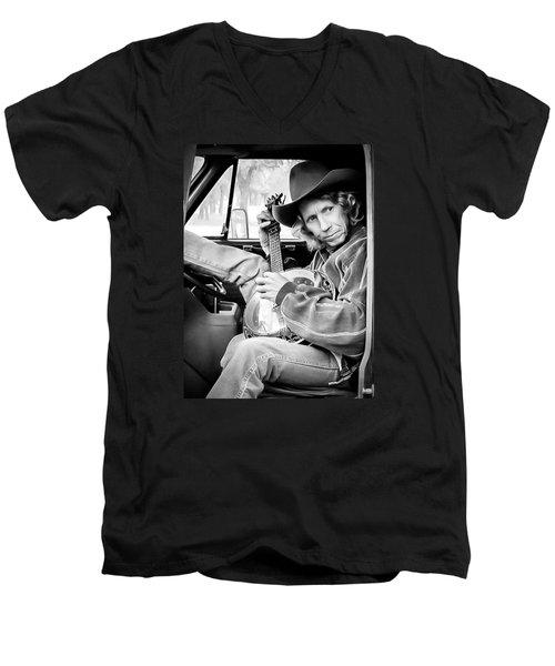Banjo Man Men's V-Neck T-Shirt by Darryl Dalton