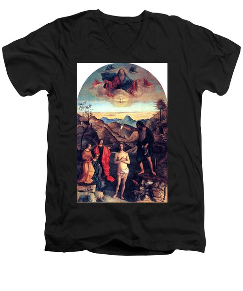Men's V-Neck T-Shirt featuring the painting Baptism Of Christ With Saint John 1502 Giovanni Bellini by Karon Melillo DeVega