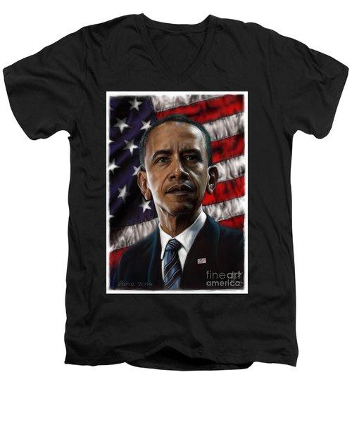 Barack Obama Men's V-Neck T-Shirt by Andre Koekemoer