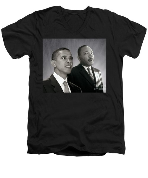 Barack Obama  M L King  Men's V-Neck T-Shirt