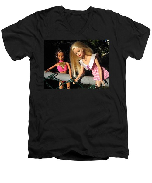 Men's V-Neck T-Shirt featuring the photograph Barbie Escapes by Nina Silver