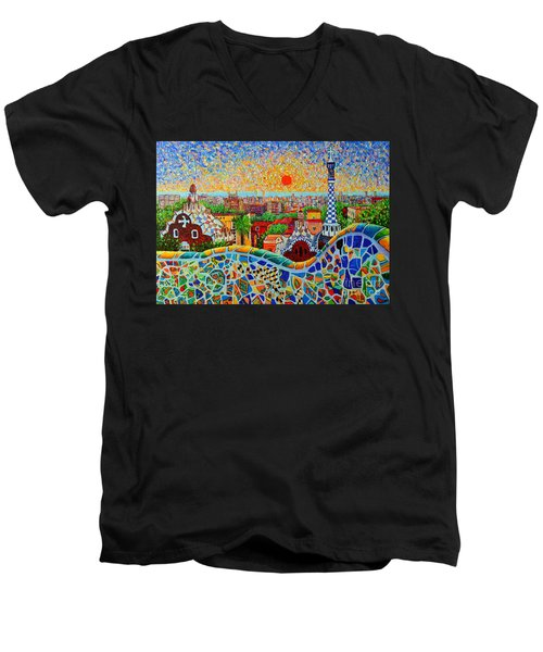 Barcelona View At Sunrise - Park Guell  Of Gaudi Men's V-Neck T-Shirt by Ana Maria Edulescu