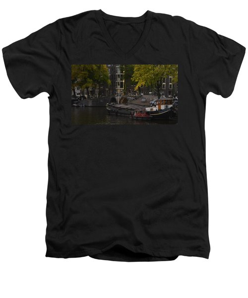 barges in Amsterdam Men's V-Neck T-Shirt