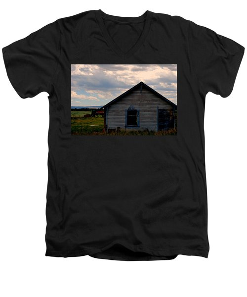 Men's V-Neck T-Shirt featuring the photograph Barn And Tractor by Matt Harang