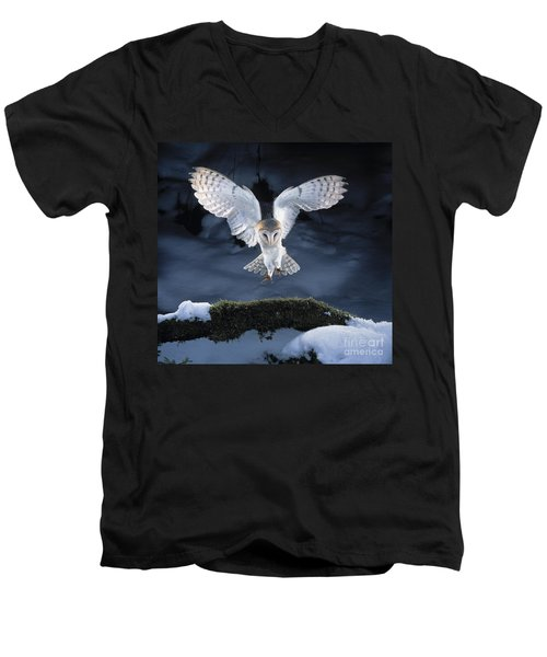 Barn Owl Landing Men's V-Neck T-Shirt by Manfred Danegger
