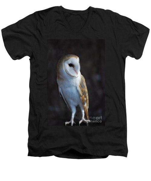 Men's V-Neck T-Shirt featuring the photograph Barn Owl by Sharon Elliott