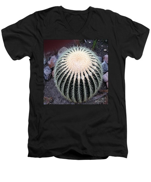 Men's V-Neck T-Shirt featuring the photograph Barrel Cactus by Luther Fine Art