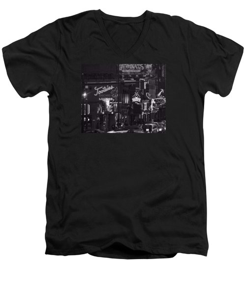 Bars On Broadway Nashville Men's V-Neck T-Shirt by Dan Sproul