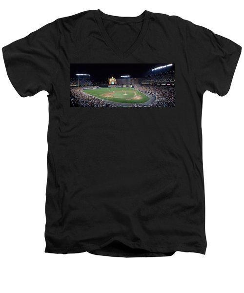 Baseball Game Camden Yards Baltimore Md Men's V-Neck T-Shirt by Panoramic Images