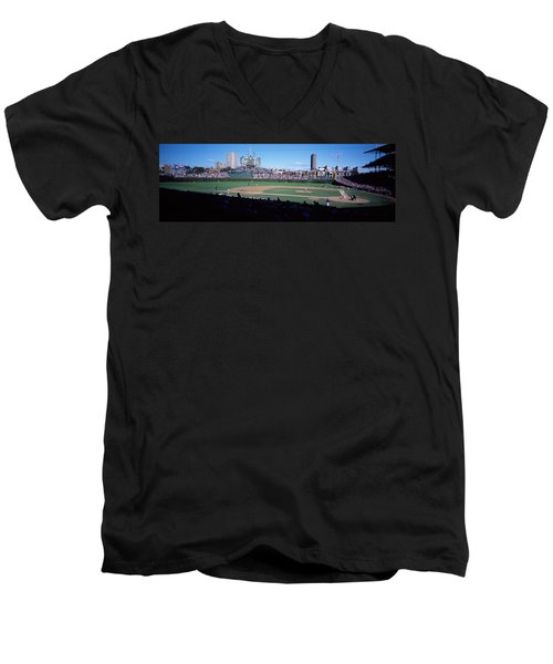 Baseball Match In Progress, Wrigley Men's V-Neck T-Shirt by Panoramic Images