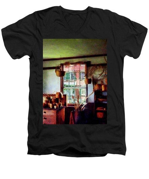 Basket Shop Men's V-Neck T-Shirt by Susan Savad