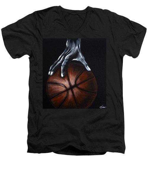 Basketball Legend Men's V-Neck T-Shirt by Dani Abbott