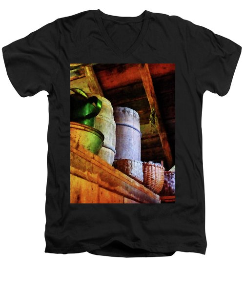 Baskets And Barrels In Attic Men's V-Neck T-Shirt by Susan Savad