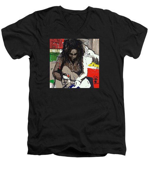 Men's V-Neck T-Shirt featuring the drawing Basquiat by Helen Syron