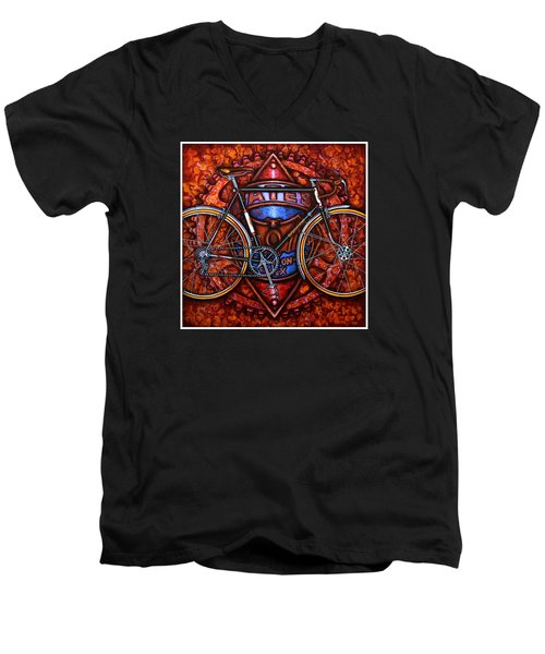 Men's V-Neck T-Shirt featuring the painting Bates Bicycle by Mark Howard Jones