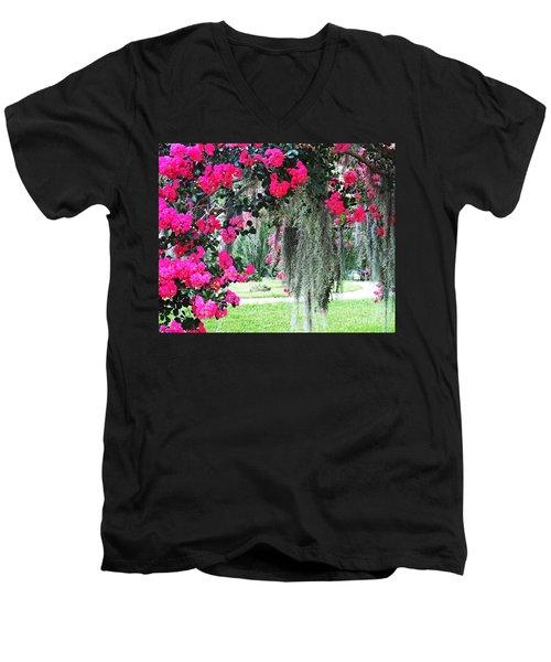 Baton Rouge Louisiana Crepe Myrtle And Moss At Capitol Park Men's V-Neck T-Shirt
