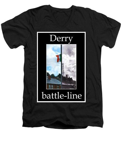 Battleline Men's V-Neck T-Shirt by Nina Ficur Feenan
