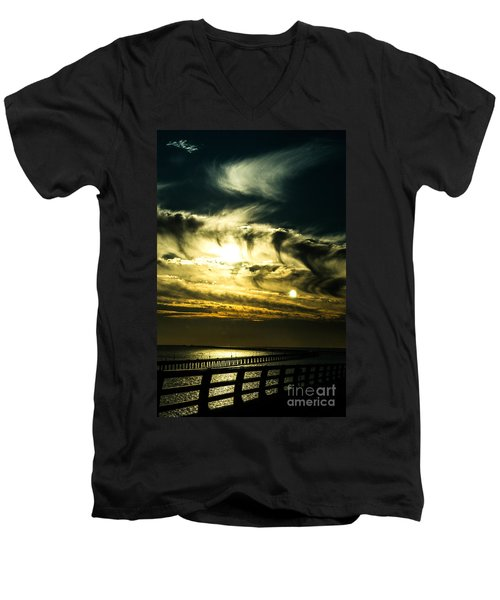 Men's V-Neck T-Shirt featuring the photograph Bay Bridge Sunset by Angela DeFrias